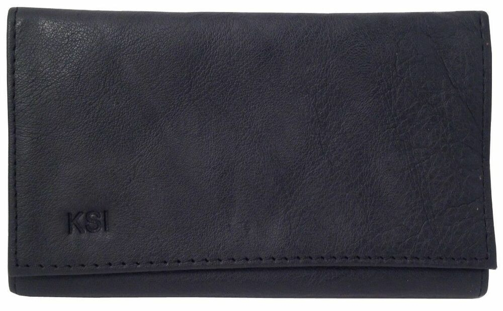Black Leather Vinyl Lined Tri Fold Rollup Double Pocket