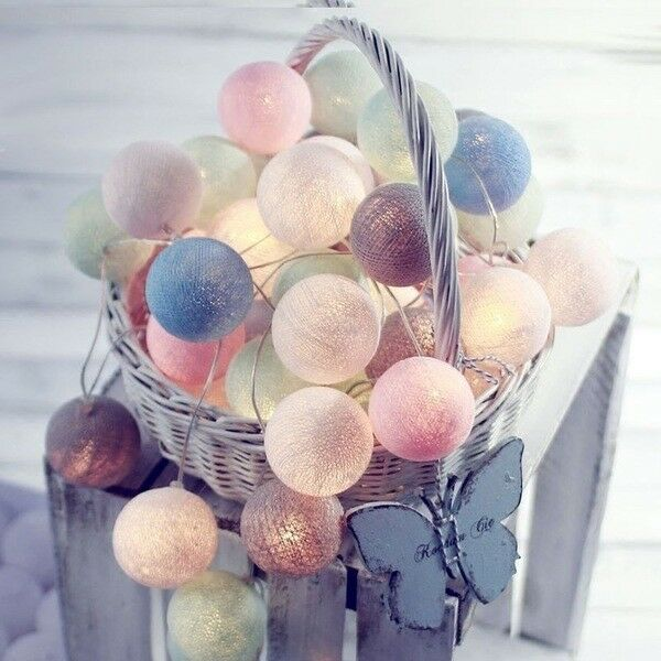 20led Vintage Pastel Cotton Ball Patio Party String Lights Fairy