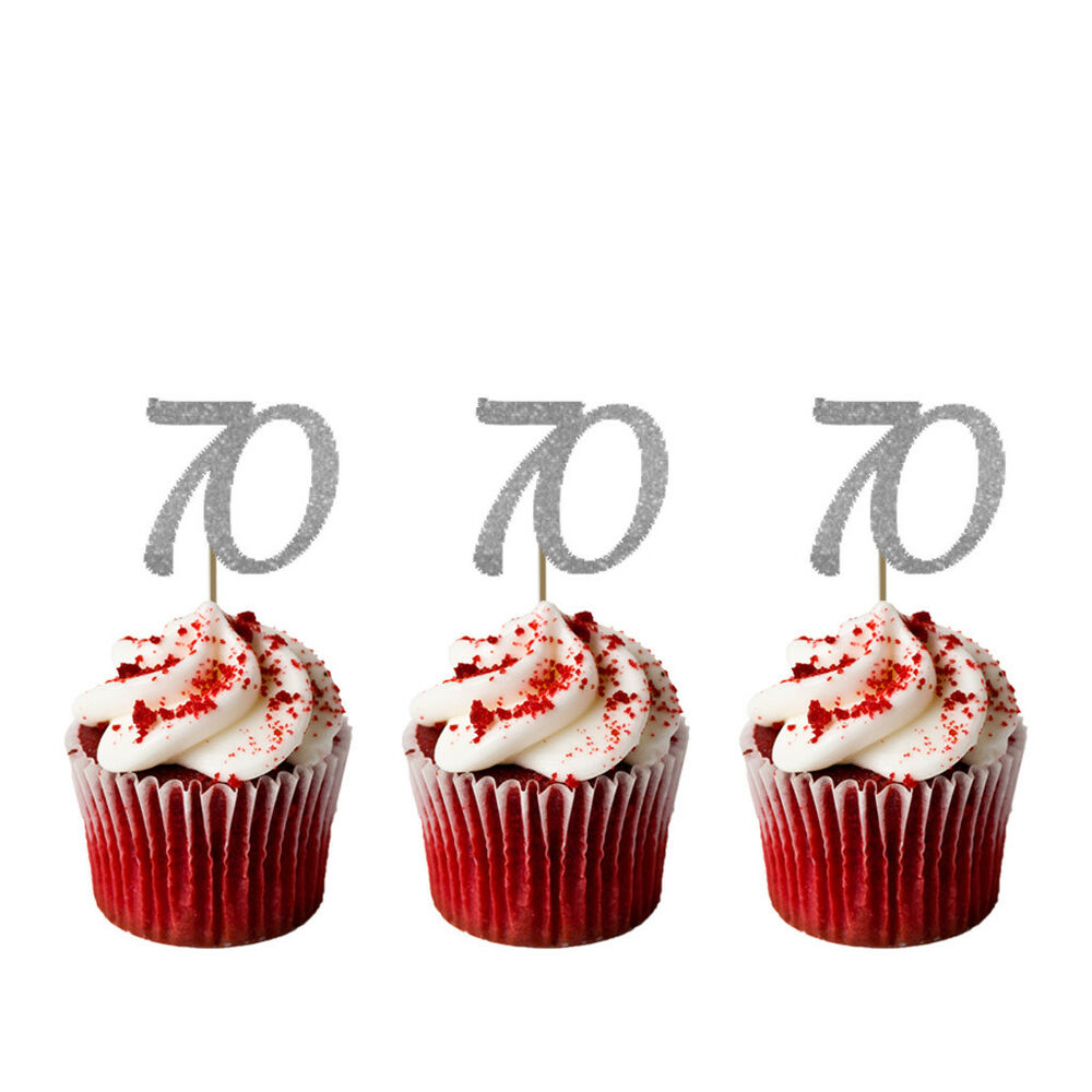 Details About 70th Cupcake Toppers Glittery Silver