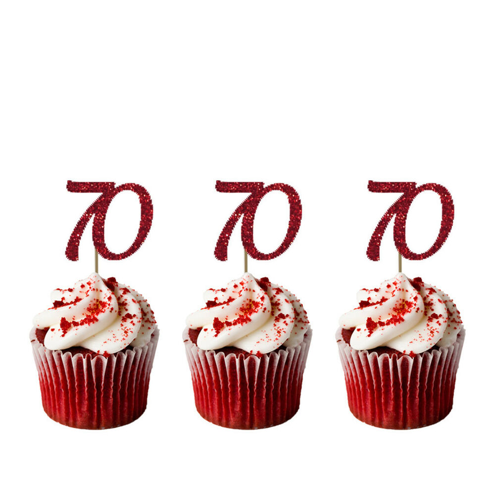 Details About 70th Cupcake Toppers Glittery Dark Pink