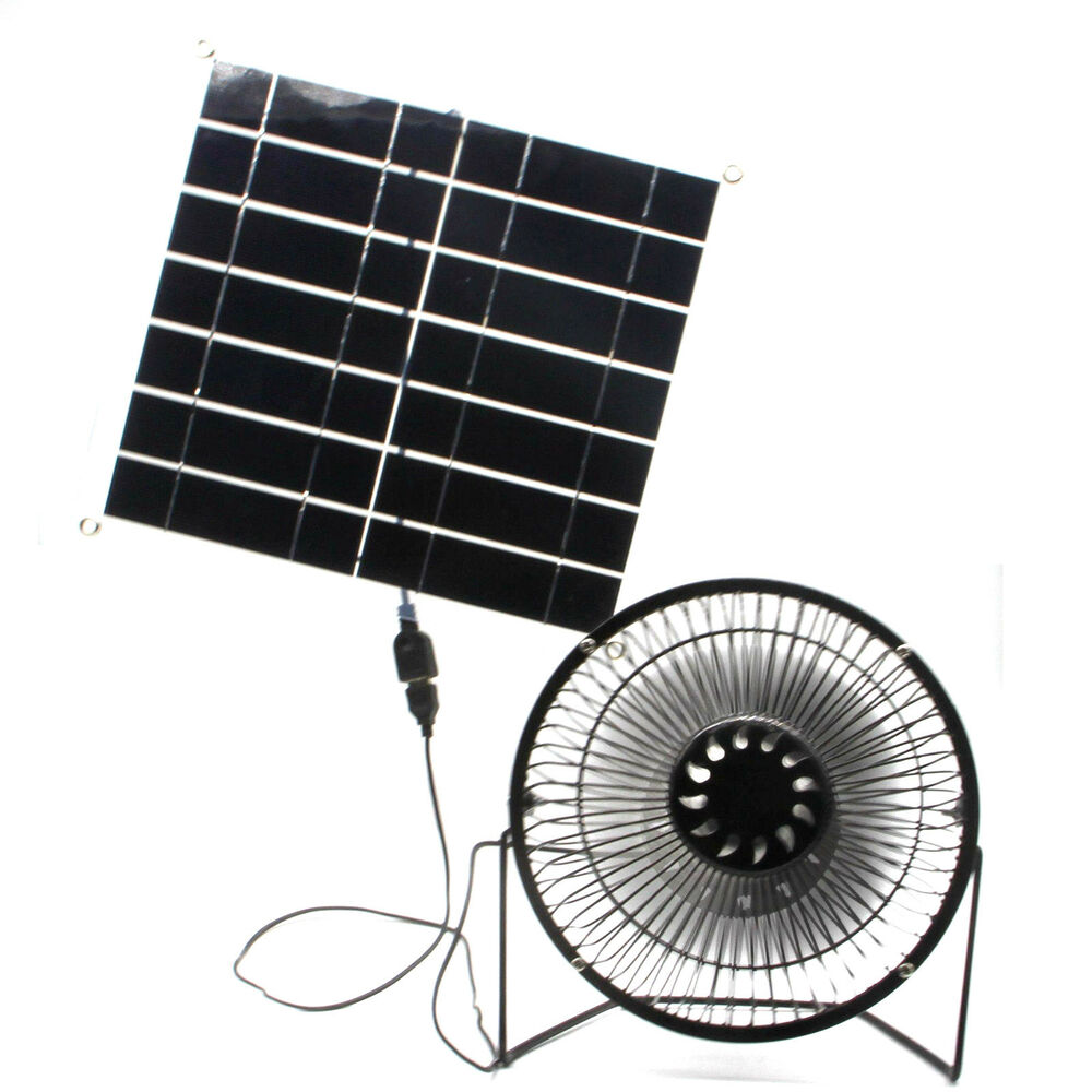 solar fan 10w usb panel portable for home outdoor cooling office outdoor pet ebay. Black Bedroom Furniture Sets. Home Design Ideas