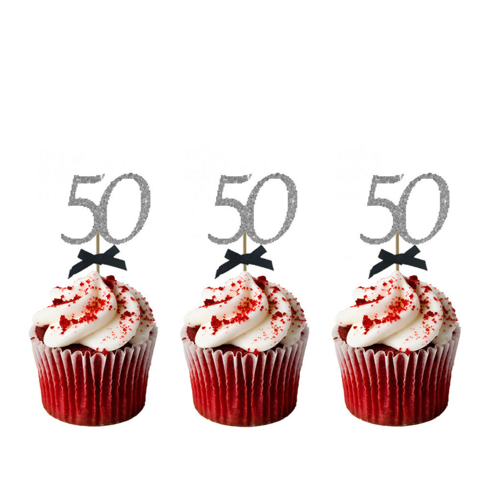 Details About 50th Birthday Cupcake Toppers With Bows Glittery Silver Black Pack Of 10