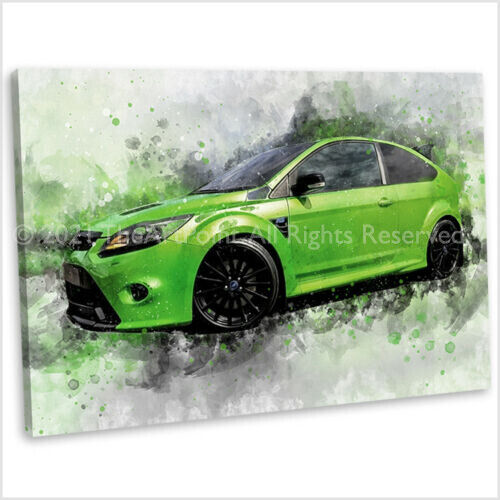 Ford Focus RS Canvas Print Framed Abstract Watercolour Car