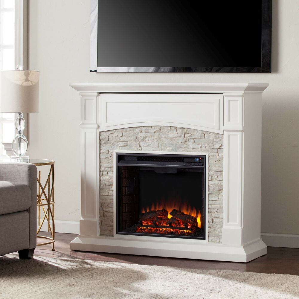 mef26039 white fauxed stone media electric fireplace with remote
