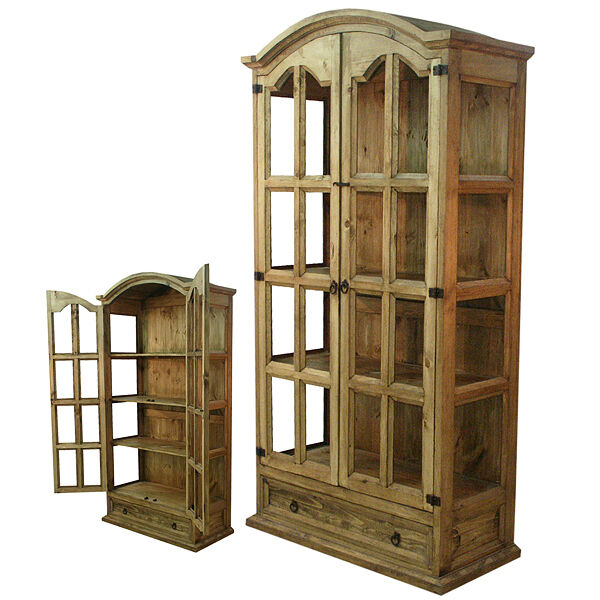 Details About Honey Rustic Display Cabinet Real Solid Wood Western Cabin Lodge Curio Storage