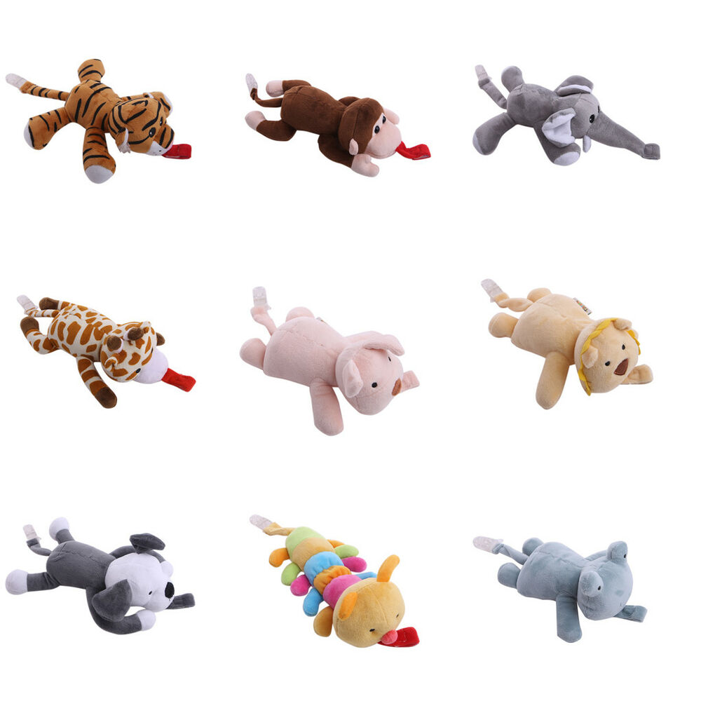 Details About Au Baby Girl Boy Dummy Pacifier Chain Clip Animal Toys Plush Nipples Holders Cl