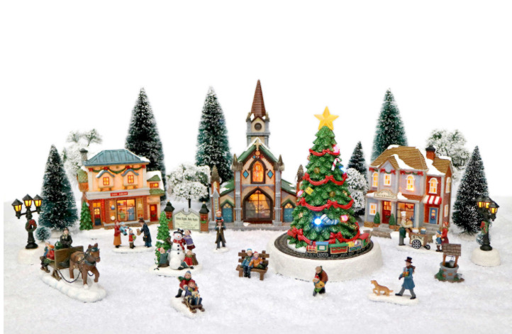 30 Piece Led Musical Christmas Village Set Home Office