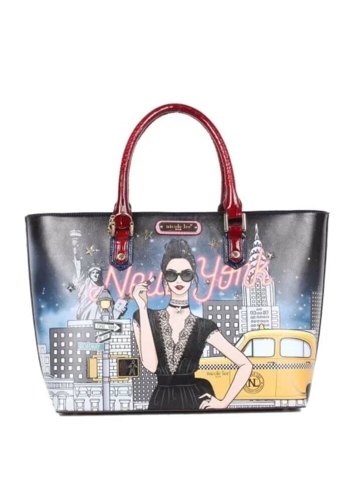 64e39ac05f1c Details about  NICOLE LEE  NEW YORK WITH A STYLE PRINT SHOPPER BAG