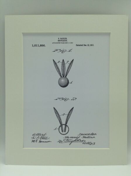 Vintage Patent Print Drawing Shuttlecock Ball Display 1911 BADMINTON 10 X 8