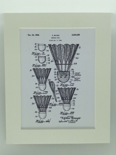 Vintage Patent Print Drawing Shuttlecock Ball Display 1935 BADMINTON 10 X 8