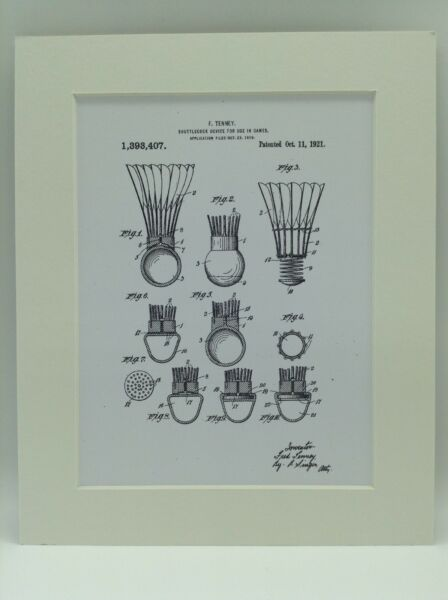 Vintage Patent Print Drawing Shuttlecock Ball Display 1921 BADMINTON 10 X 8