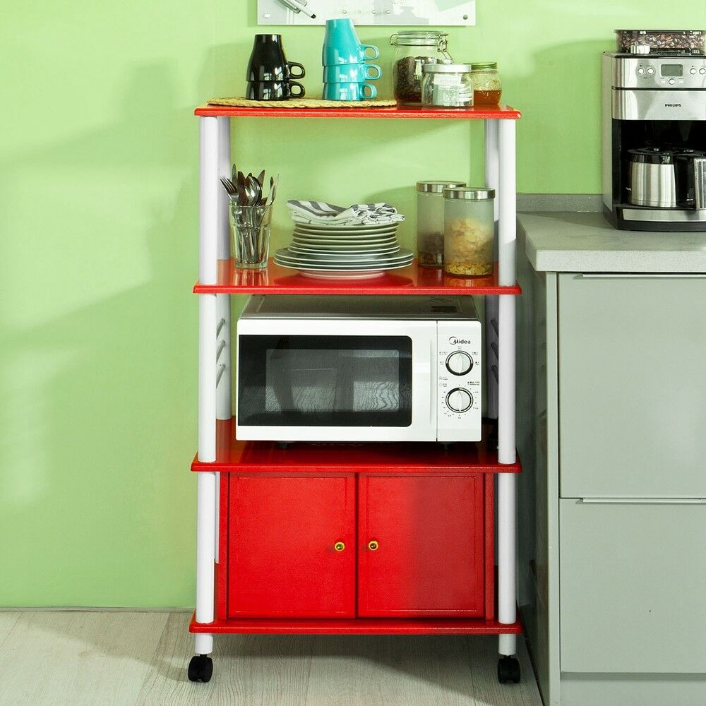 Kitchen Cabinet Microwave Shelf: SoBuy® Wood Kitchen Storage Cabinet Cart, Microwave Rack Shelf, FRG12-R, Red, UK