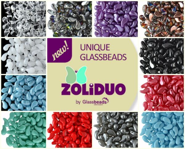 CHOOSE COLOR! 20pcs 5x8mm 2-hole ZoliDuo® Left Beads Czech Pressed Glass