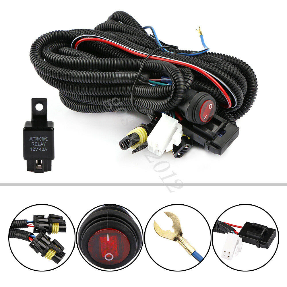 12V 30A LED Work Fog Light Spotlight Bar Wiring Harness ...