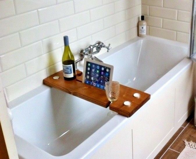 Rustic Bath Caddy - Strong Solid Chunky Wood - Smartphone And Tablet Holder