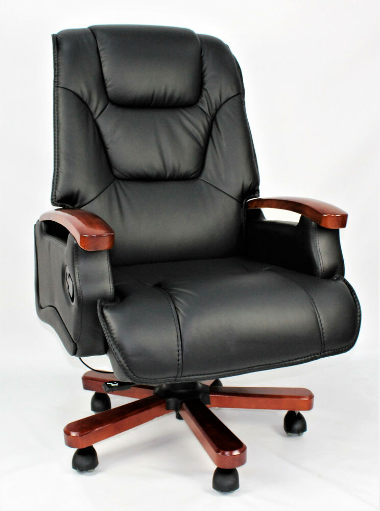 genuine leather full recliner executive office chair. Black Bedroom Furniture Sets. Home Design Ideas