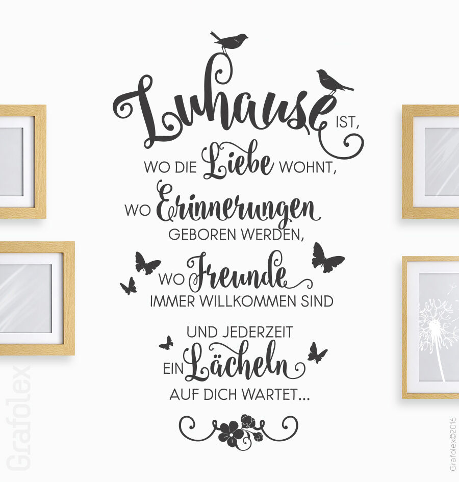 wandtattoo zuhause liebe familie spruch zitate wandsticker wand deko tattoo ws10 ebay. Black Bedroom Furniture Sets. Home Design Ideas