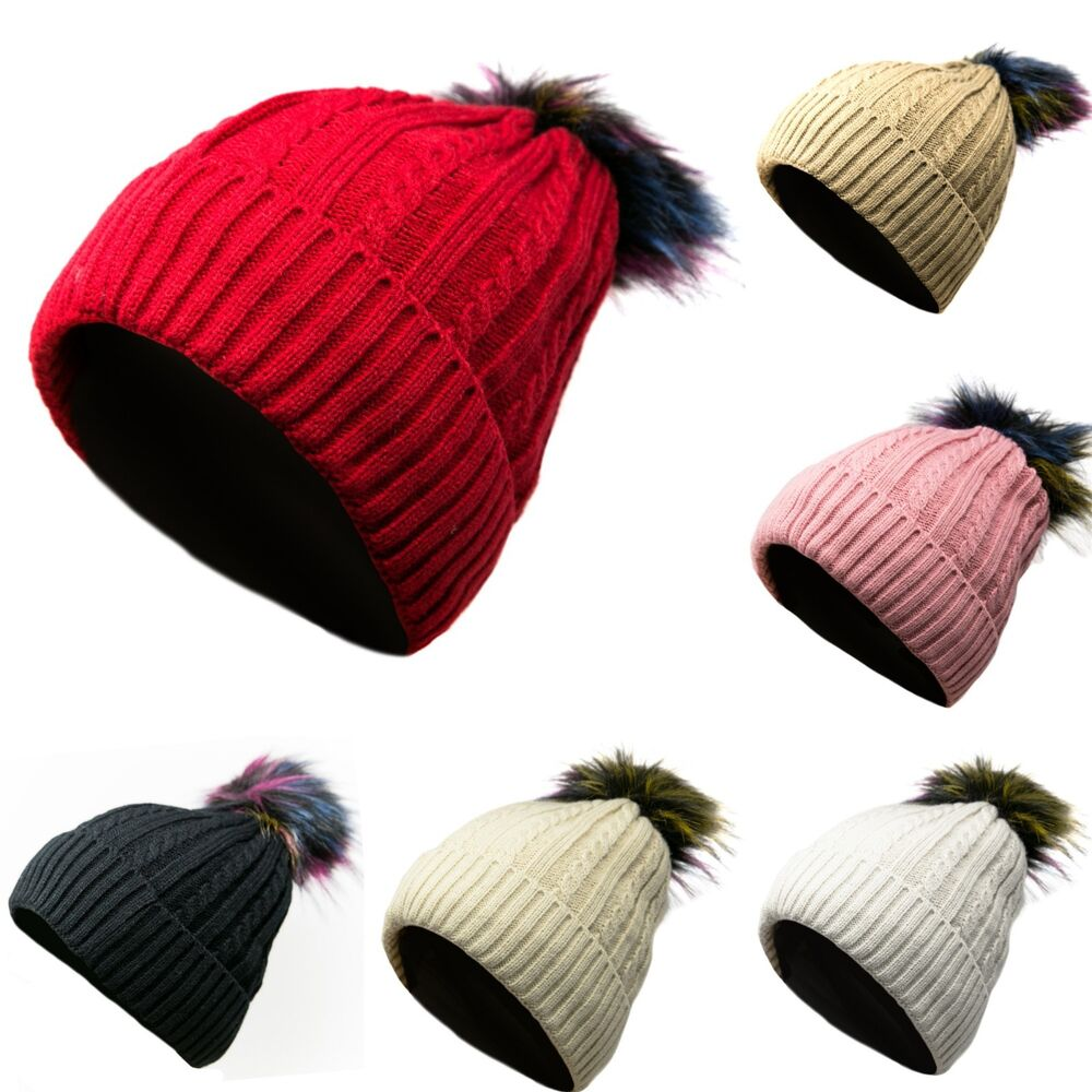 da6734ba Details about Pom Pom Winter Thick Cable Knitted Beanie Hat Baggy Slouchy  w/ Fur Lining Warm
