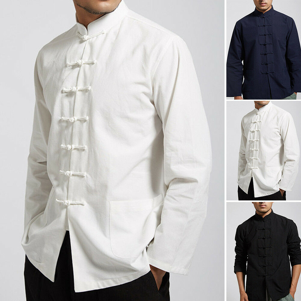 9744ce3a25 Details about Men Traditional Chinese Tang Suit Coat Kung Fu Tai Chi  Uniform Jacket Clothing