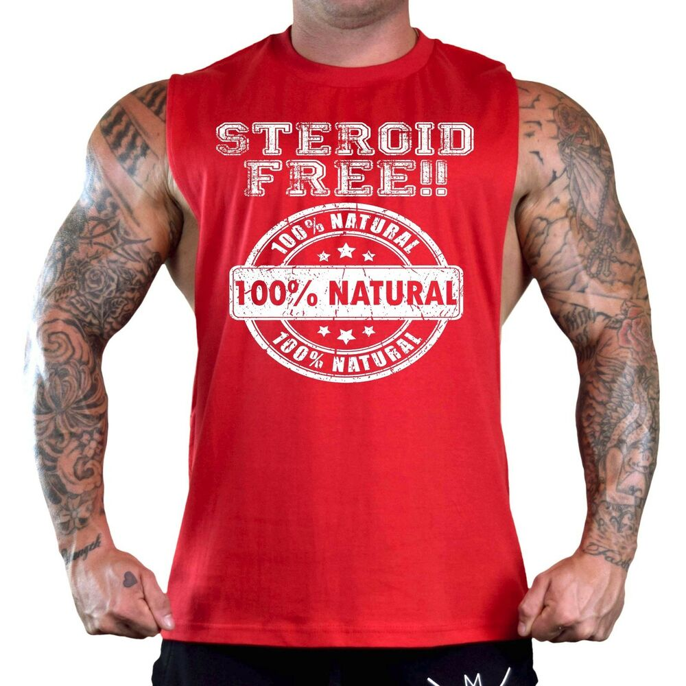 68501cd9a6a5e Details about Men s Steroid Free Red T-Shirt Tank Top Gym Workout Fitness  Natural Muscle Tee