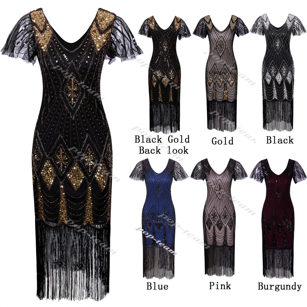 Retro 1920s Costume Womens Flapper Gatsby 20s Party Prom Evening ...