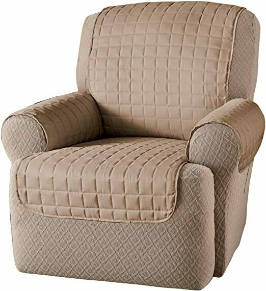 Chair Seat Microfiber Wing Recliner Protector Cover Beige