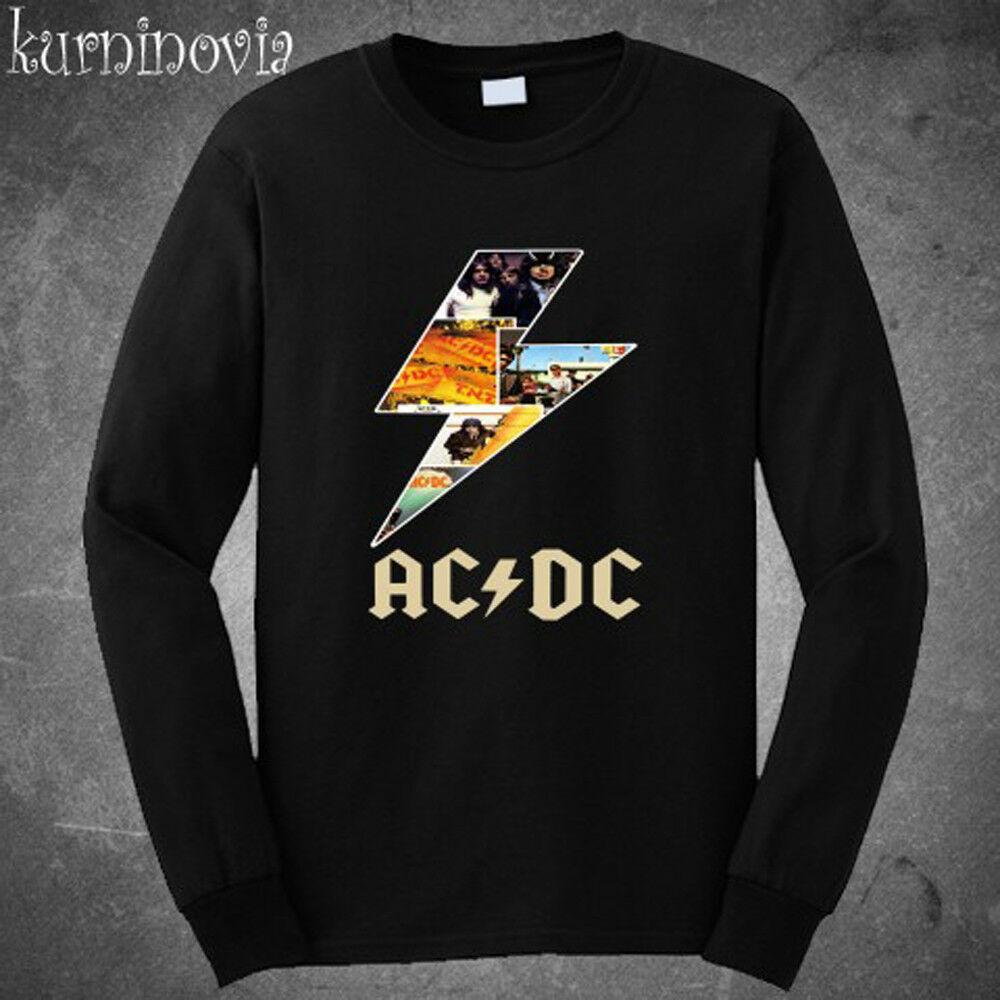 e970e255de0b Details about New AC/DC ACDC Thunder Logo Rock Band Long Sleeve Black T- Shirt Size S to 3XL