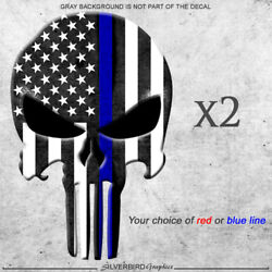 2x Punisher thin blue or red line sticker decal police officer firefighter vinyl