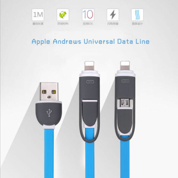 2 in 1 Sync Data Charging USB Cable Micro USB Cable  for Samsung iphone 5 6 7 LG