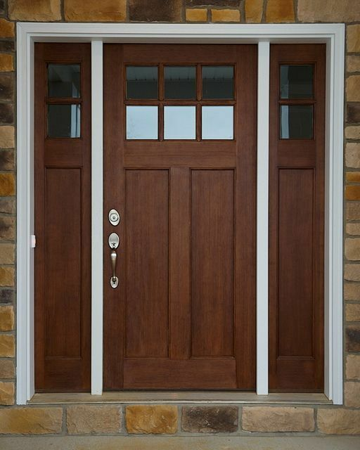 Craftsman 6 Lite Clear Alder Front Entry Door With 2 Sidelights Ebay