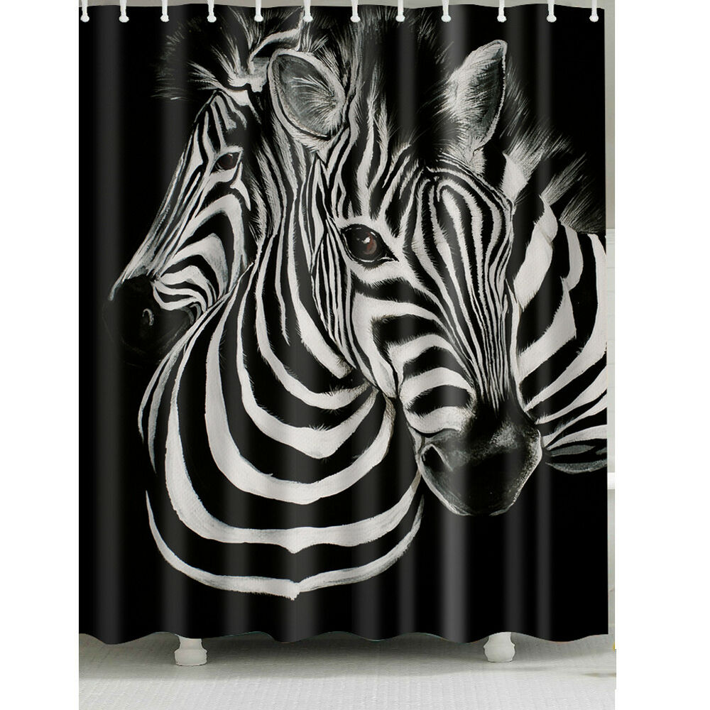 Details About 1 Pc Waterproof Two Zebra Shower Curtain For Home And Bathroom