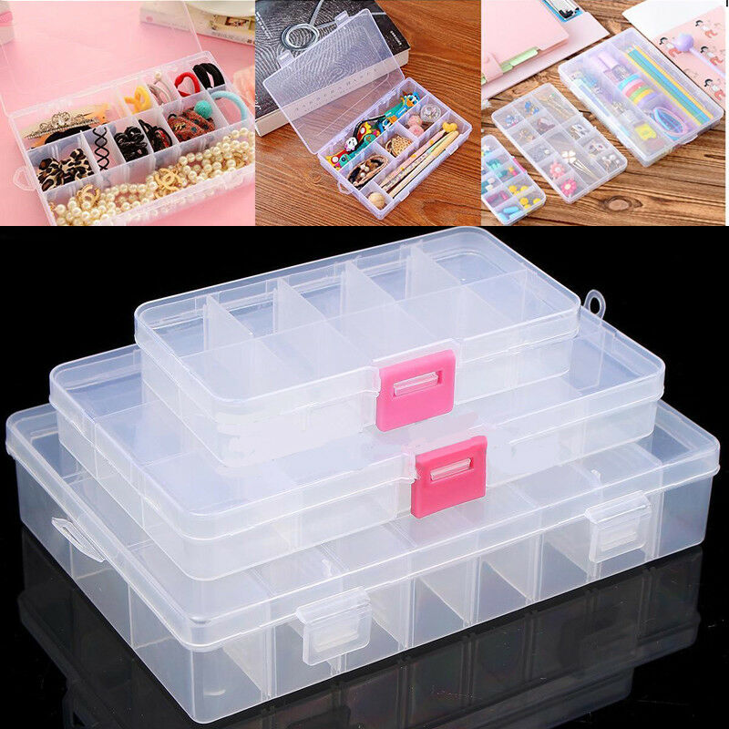 Jewellery Packaging And Bead Storage With: 10/15/24 Plastic Clear Storage Box Case Jewelry Bead Screw