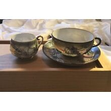 ANTIQUE HAND PAINTED JAPANESE TEA CUPS AND SAUCER, WITH DRAGONS HALLMARKED
