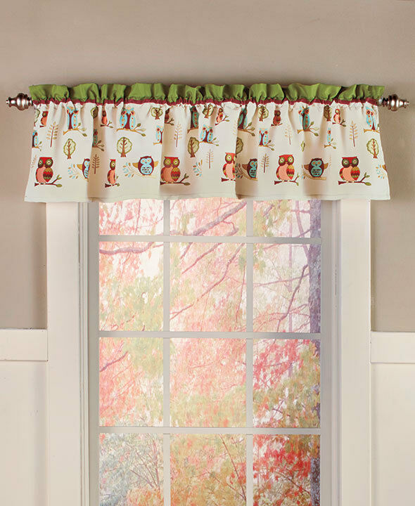 Whimsical Owl On Branch Window Valance Spring Leaves Birds