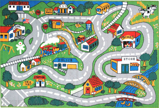 """3x5 Area Rug Kids Play Road Map Street Country Driving Time New 3'3""""x4'10"""""""