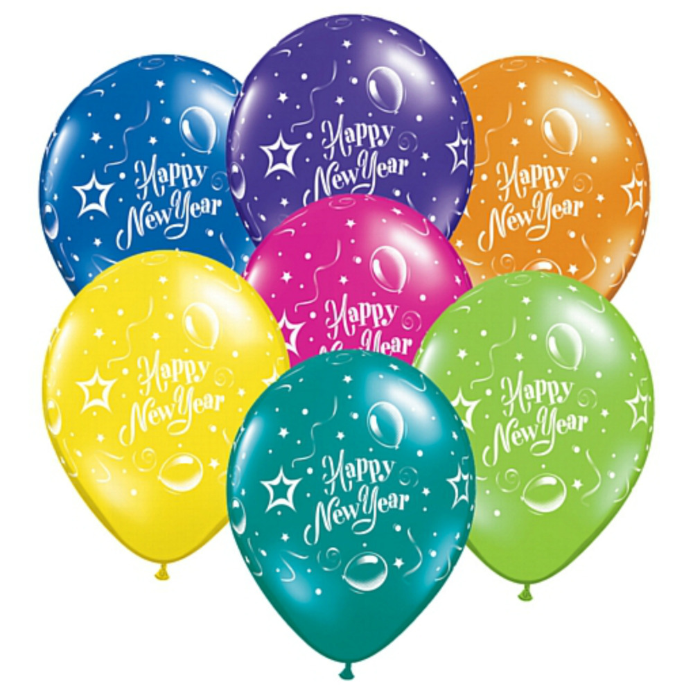 Happy New Year Latex Balloons Mix Colour for New Year Eve ...