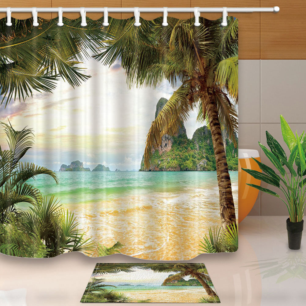 Details About Tropical Seaside Coconut Tree Landscape Bathroom Fabric Shower Curtain Set 71