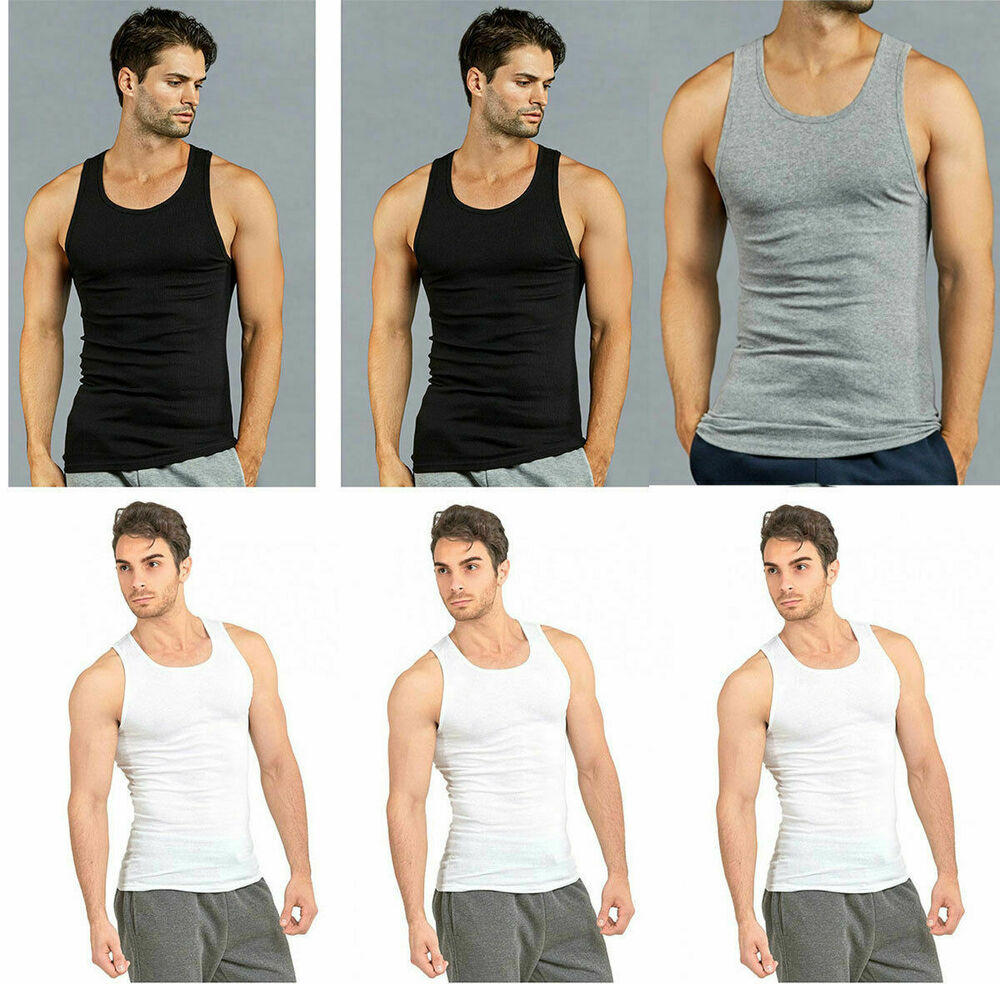 1e1bd766eff61 Details about pack mens cotton ribbed a shirts undershirts wife beater new  tank tops jpg 1000x1000