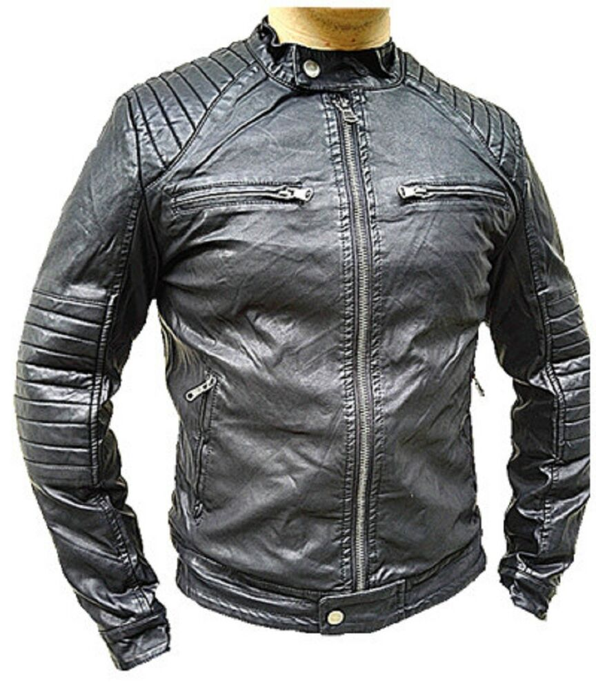 manteau homme veste hiver simili cuir blouson jacket fourrure doudoune s237 ebay. Black Bedroom Furniture Sets. Home Design Ideas