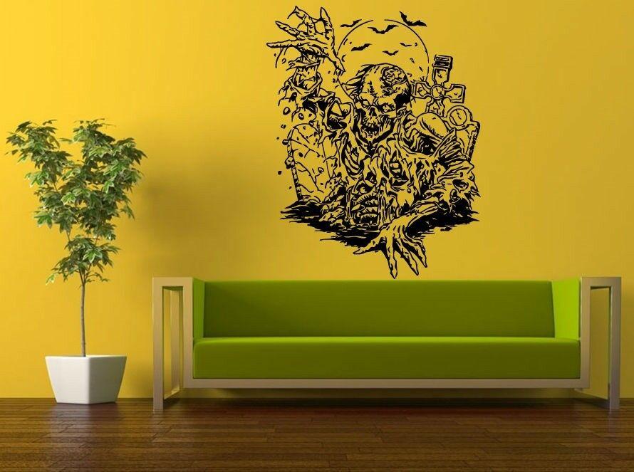wall room decor sticker mural decal zombie skillet grave yard big