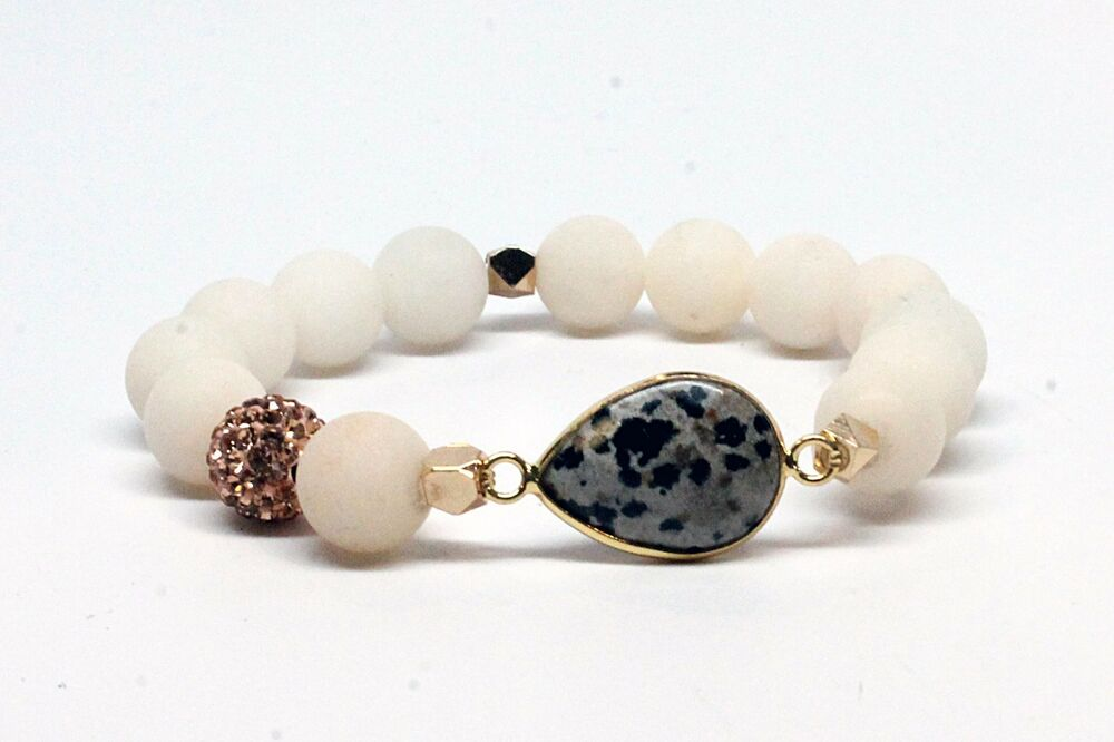 6c17b594c Speckled Black and Gray Cabochon Druzy Bracelet with Matte White Beads |  eBay