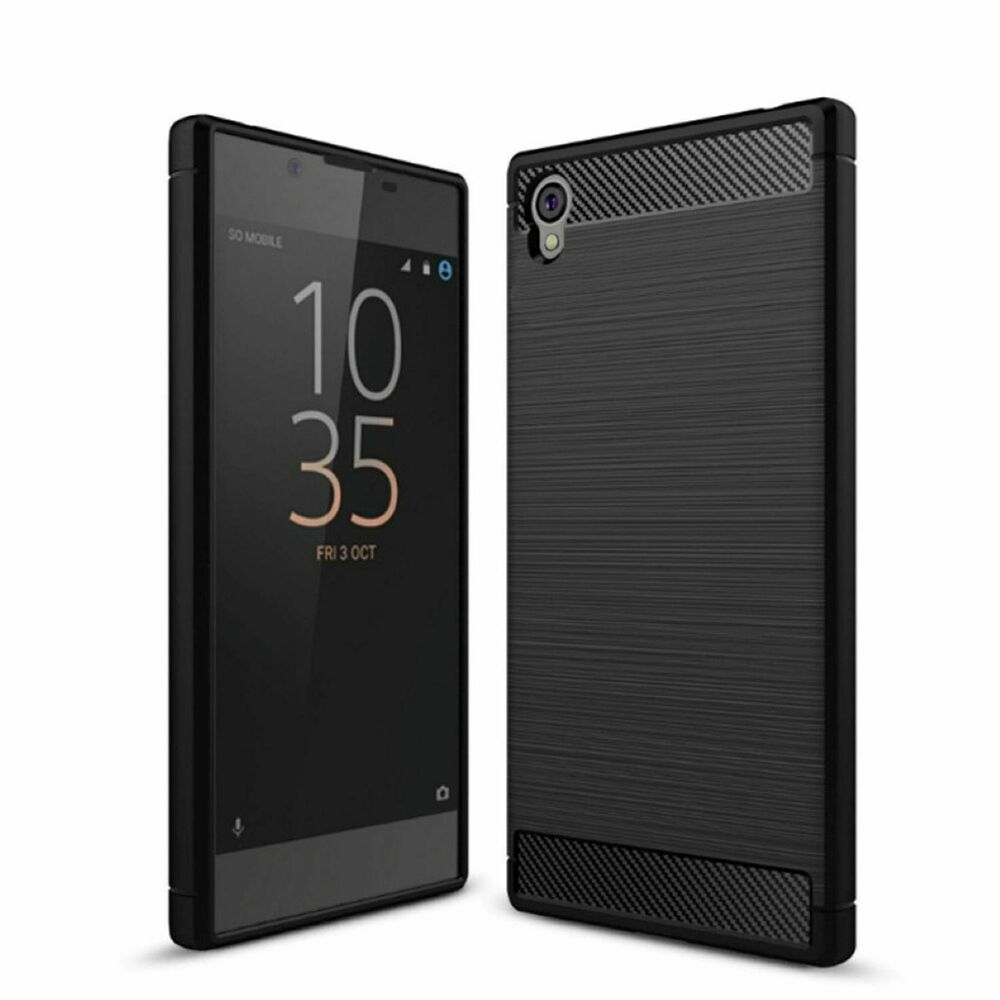 sony xperia l1 handy h lle tpu case carbon fiber schutz cover bumper schwarz neu ebay. Black Bedroom Furniture Sets. Home Design Ideas