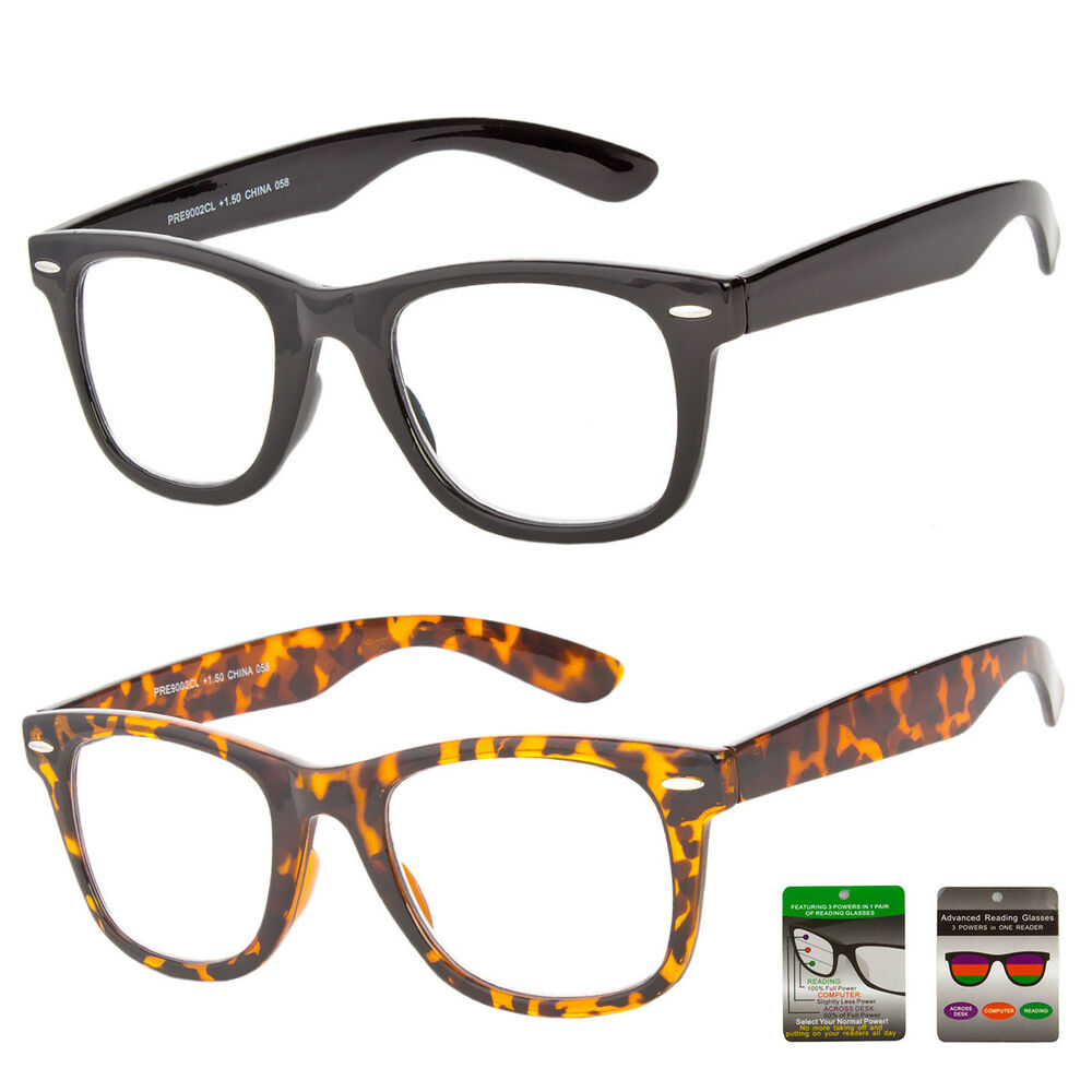 d64ab95b98b72 Details about NEW Reading Glasses No Line Progressive Clear Lens Retro  Square Frame Bifocal