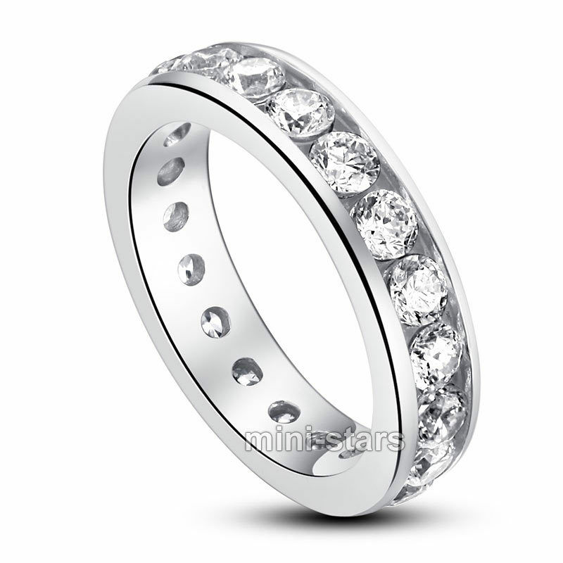 925 Sterling Silver Channel Setting Eternity Band Ring
