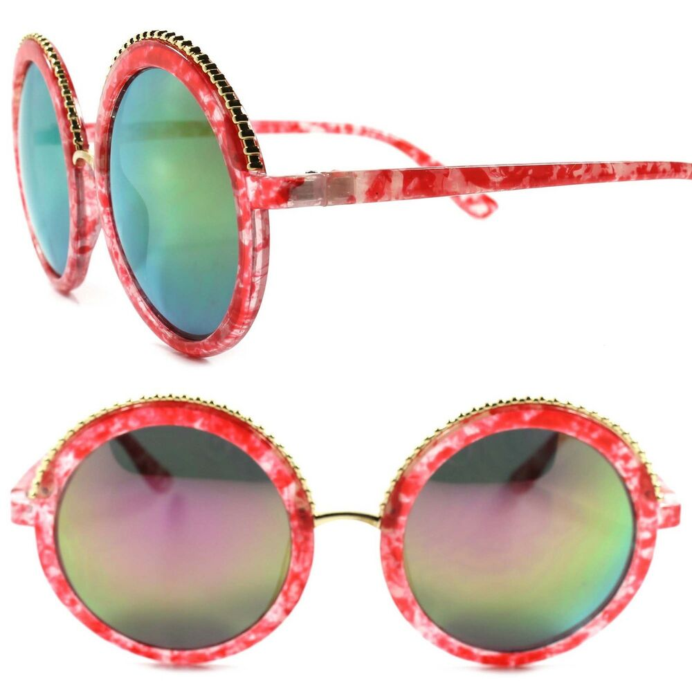 3610b92f02cd Details about Chic Designer Fashion Classic Style Mirrored Lens Circle  Round Womens Sunglasses
