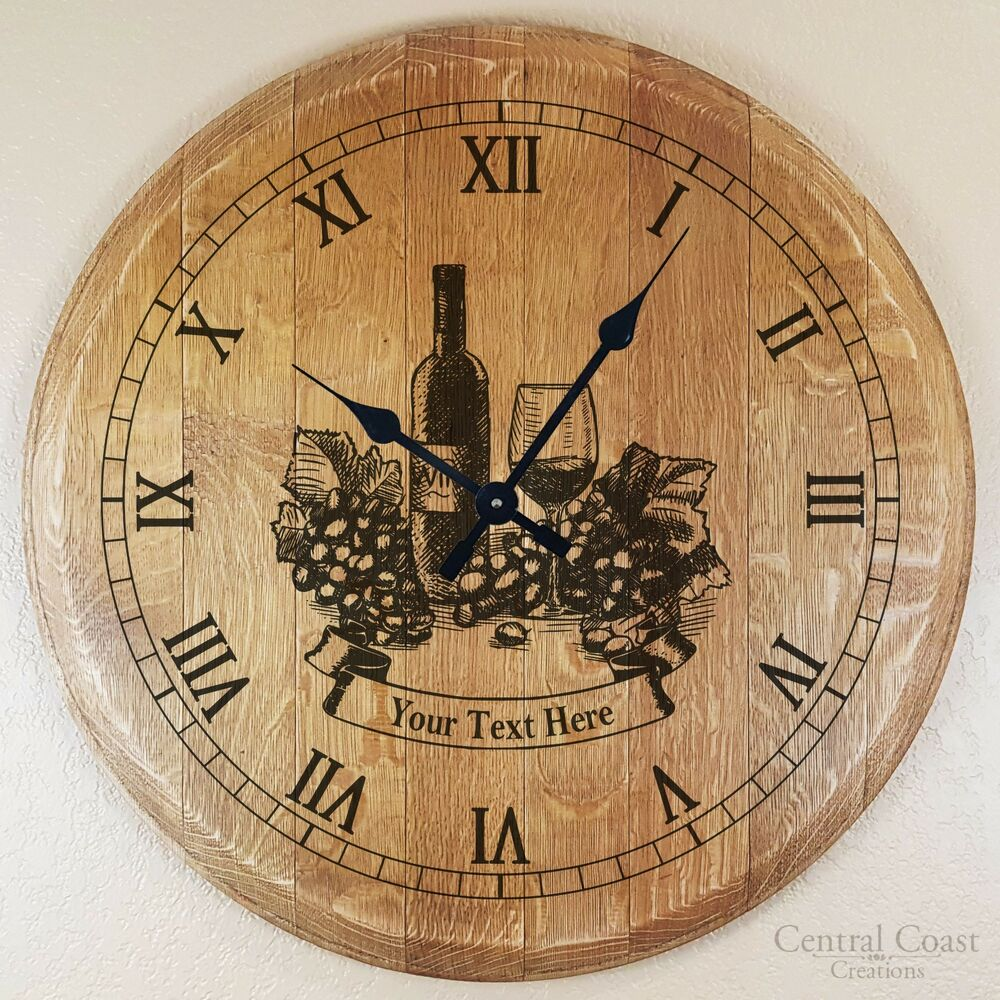 Laser Engraved Wine Barrel Head Clock Rustic Furniture