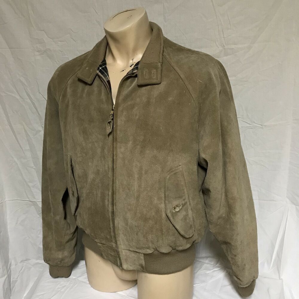 MediumEbay Plaid Lined Leather Ralph Vtg Polo Bomber Suede Lauren Coat Jacket F1J3clKTu