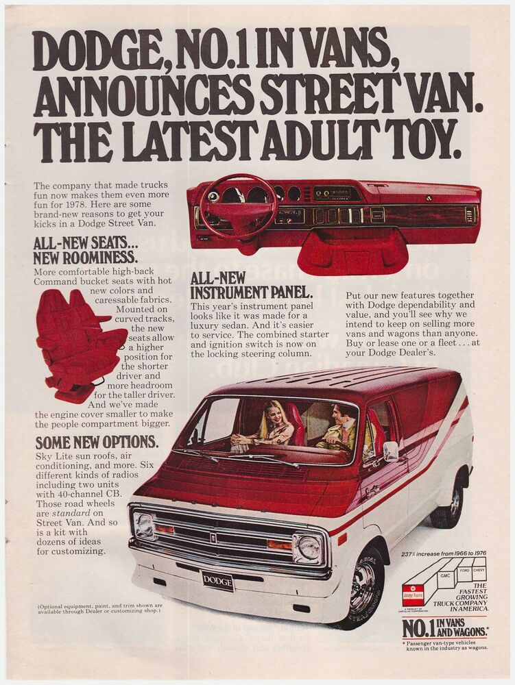 Original 1978 Dodge Street Van 1 In Vans And Wagons Vintage Print Ad