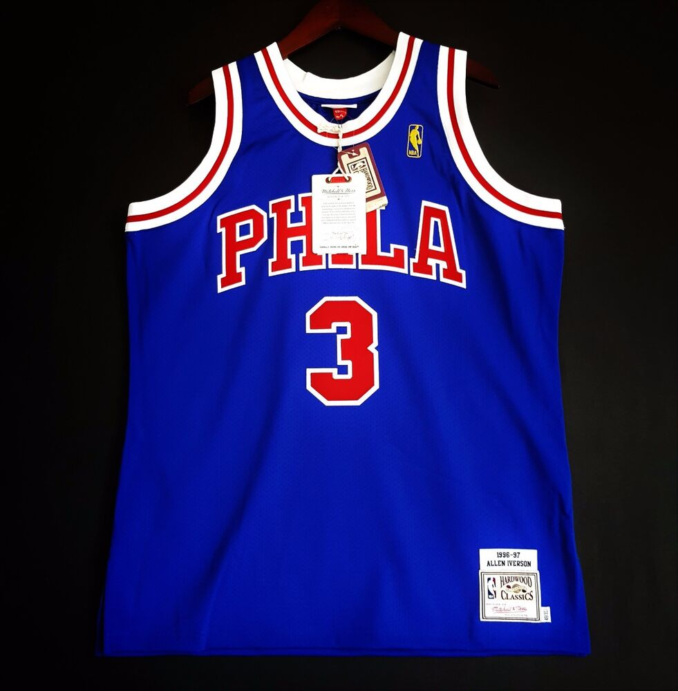 6fe58ce43 100% Authentic Mitchell   Ness Allen Iverson Sixers NBA Jersey Mens Size 48  XL