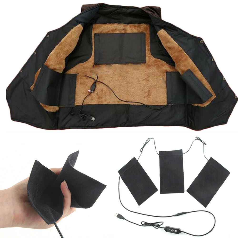 USB Electric Cloth Heater Pad Heating Element Heated Thermal Jacket Body  Warmer